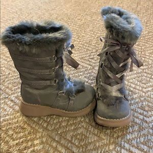 Girls Grey Lace-Up Winter Boots